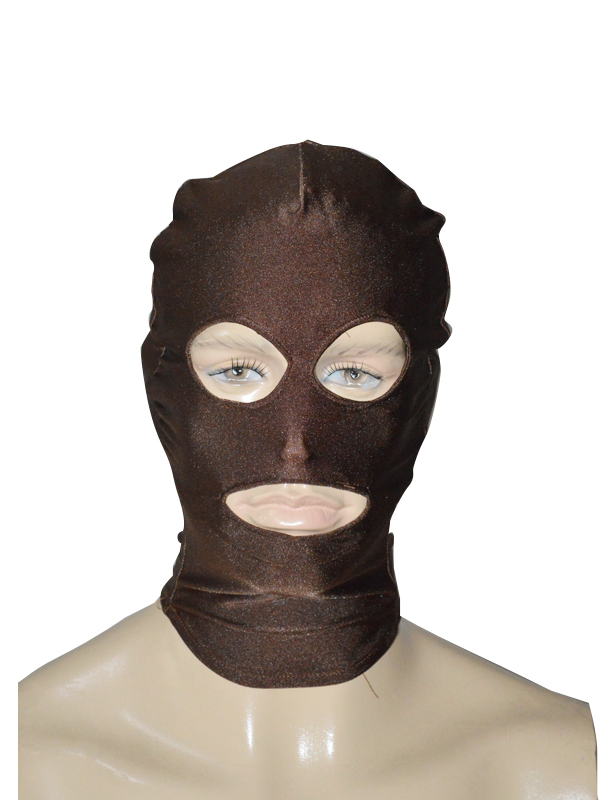 Deep Brown Spandex Zentai Hood Open Eyes & Mouth
