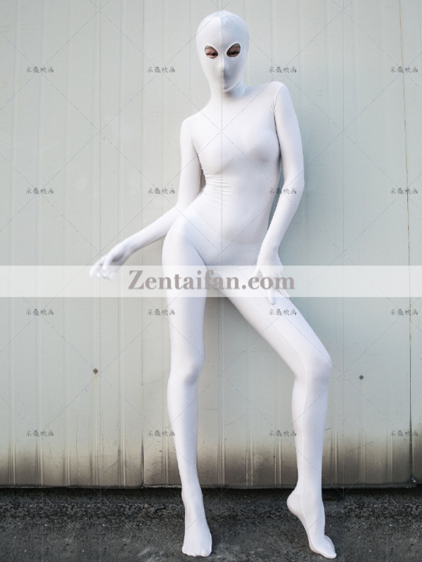 Female Sexy White upgraded Spandex Full Body Zentai suit