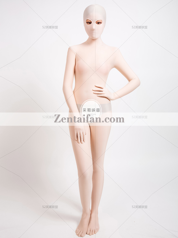 Flesh-color upgraded Spandex Full Body Zentai suit Add Toes