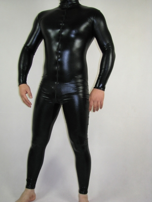 Front Open Black Shiny Metallic Unisex Zentai Suit