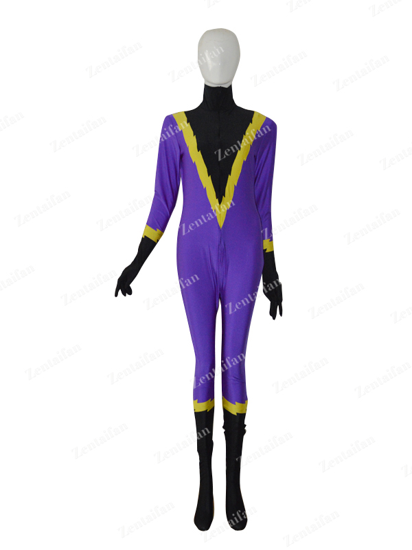 Front Open Purple & Black Custom Spandex Suit