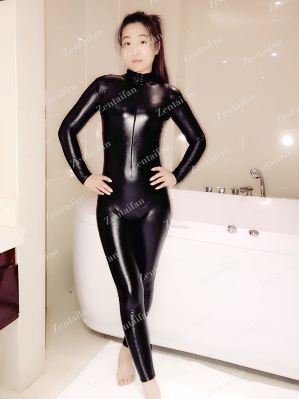 Front-zipper Newest Black Elastic PU Suit / Unitard