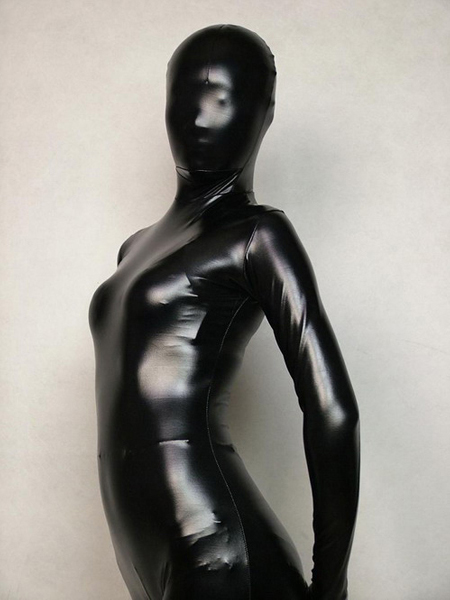Fullbody Black Shiny Metallic Zentai Suit