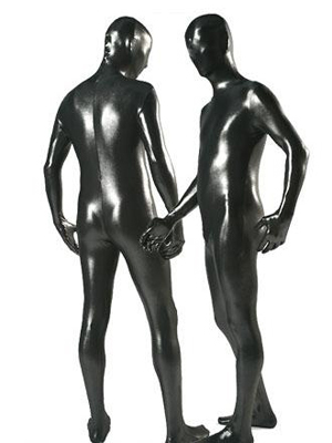 Fullbody Sexy Black Metallic Zentai Suit