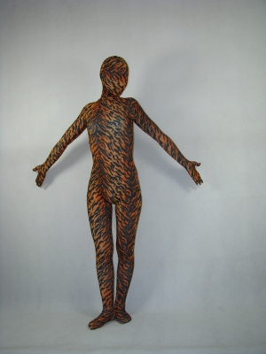 Fullbody Unisex Tiger Pattern Hooded Spandex Zentai Catsuit