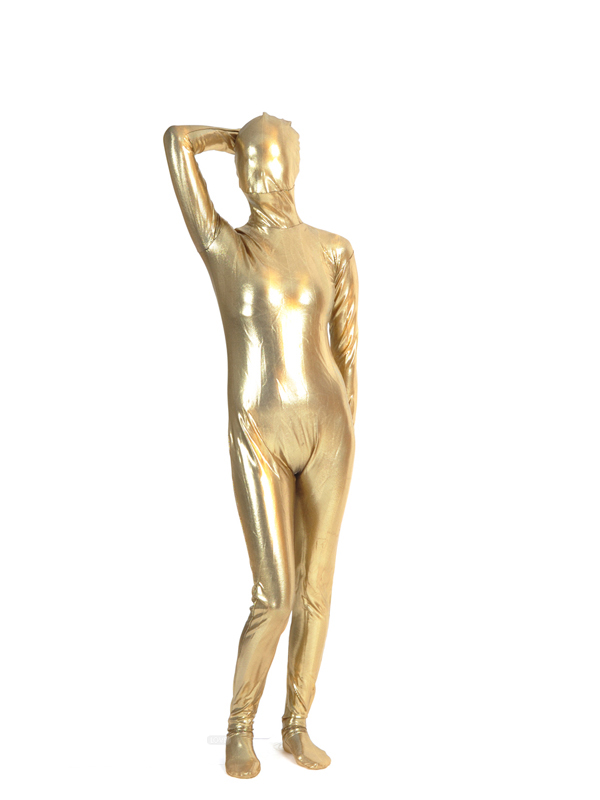 Gold Shiny Metallic Spandex Fullbody Zentai Costume