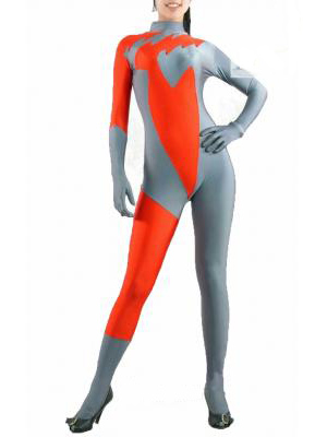 Gray with Orange Lycra Spandex Unisex Zentai Catsuit