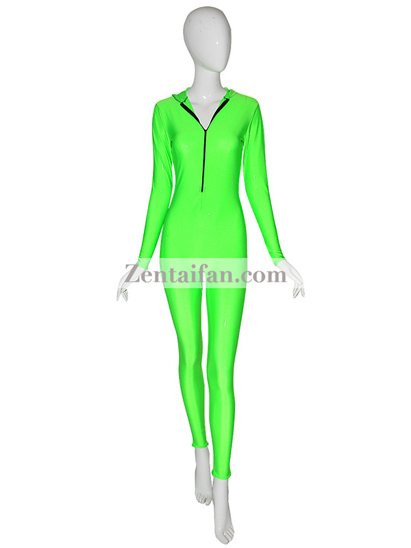 Green Full Body Female Zentai suit With Hood