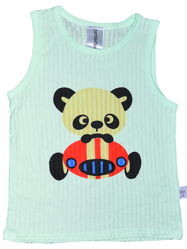 Zentaifan Green Kids T-SHIRT with panda design