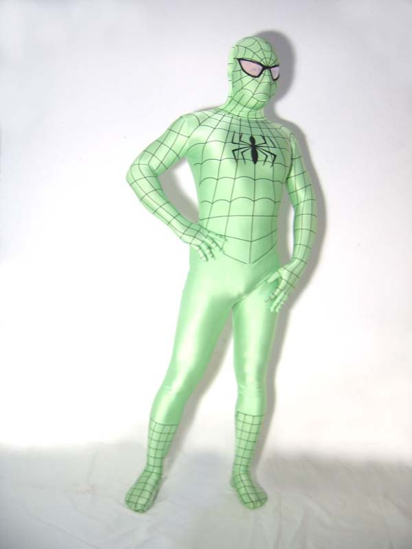 Green Lycra Spandex Outfit Spiderman Costume