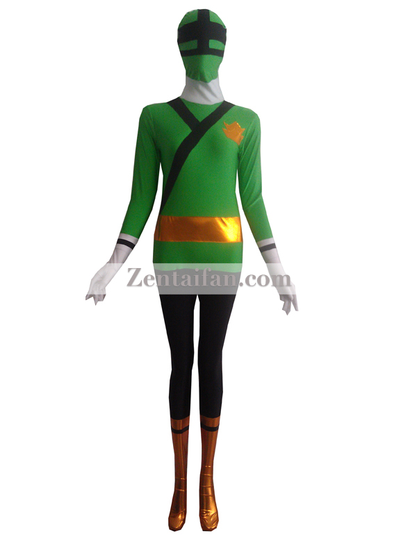 Green Shinkenger Power Rangers Superhero Costume