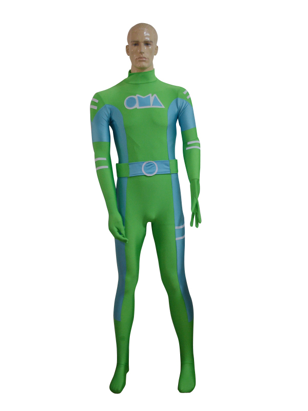 Green & Sky Blue Spandex Custom Male Zentai Costume