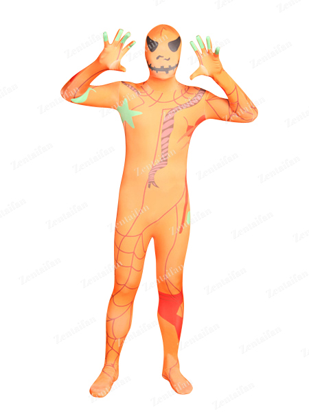 Halloween Pumpkin Man Fullbody Zentai Suit