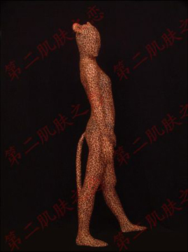 Leopard Pattern Spandex Zentai Suit With Ear and tail