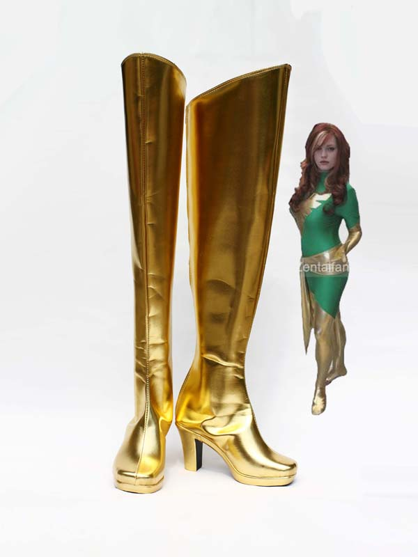 Light Golden X-men Phoenix Jean Grey Superhero Boots