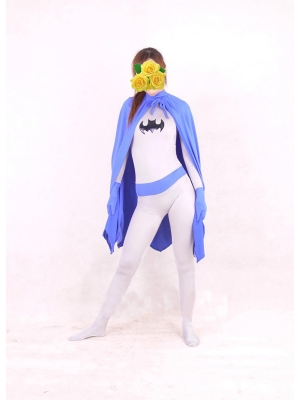 Lycra Batgirl Costume In Blue And White With Cape