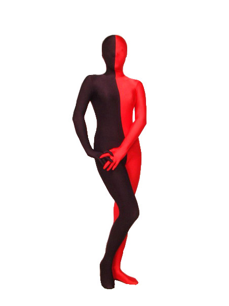 Lycra Spandex Red And Black Zentai Suit