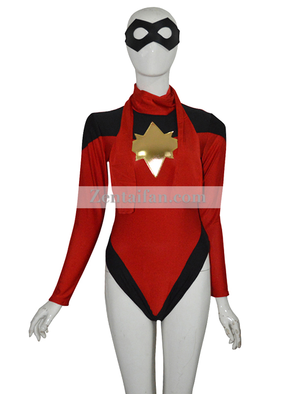 Ms Marvel Girls Superhero Spandex Leotard Suit