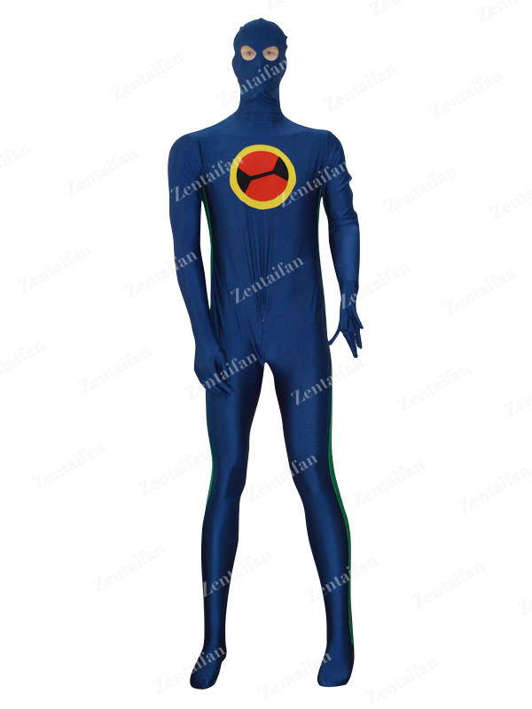 Navy Blue & Green Custom Spandex Fullbody Zentai Costume