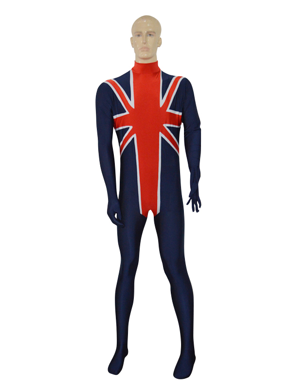 Navy Blue & Red British Flag Custom Spandex Zentai Suit