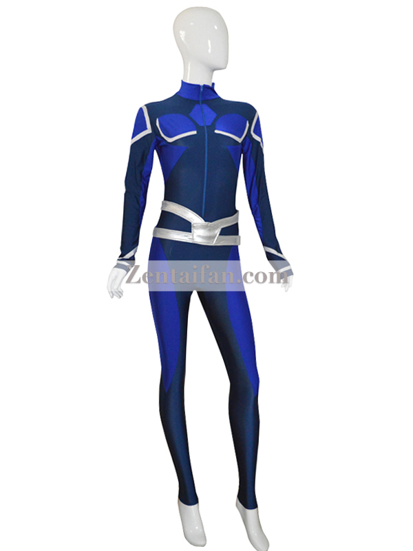 Navy Blue & White Custom Female Spandex Suit