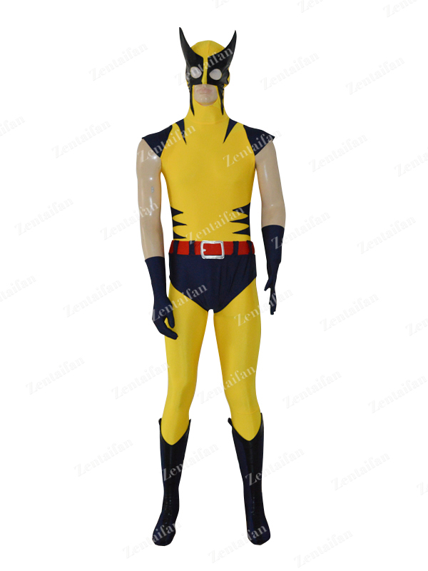 Navy Blue & Yellow X-Men Wolverine Superhero Costume