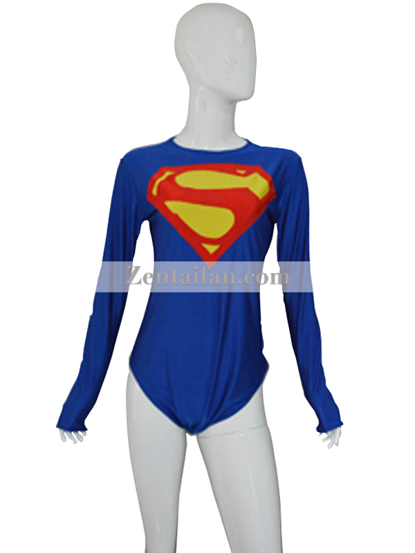 Newest Custom Blue Supergirl Spandex Leotard