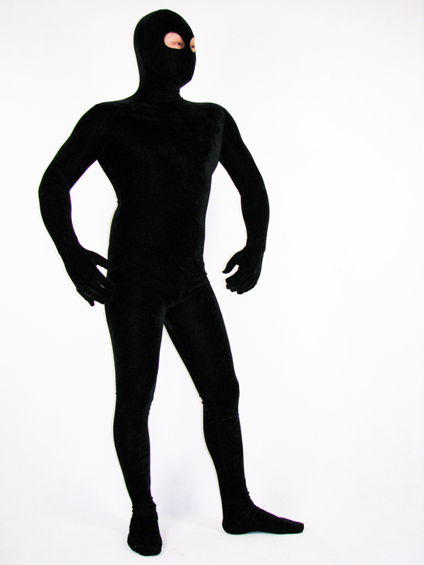 Open Eyes Black Lycra Spandex Full body Zentai suit