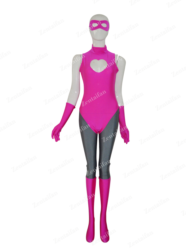 Pink & Grey Female Spandex Custom Suit