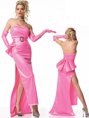 Pretty Long Pink Sleeveless Zentai Dress Shiny Zentai Dress