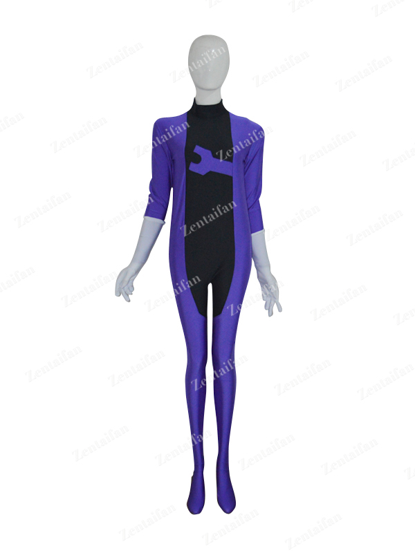 Purple & Black Spandex Custom Zentai Costume