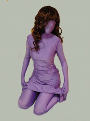 Violet Lycra Spandex fullbody zentai Dress and Pant