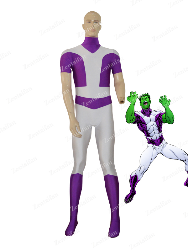 Purple & White Beast Boy Custom Superhero Costume