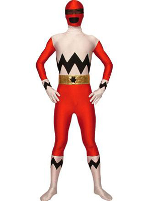Red And White Lycra Spandex Superhero Costume