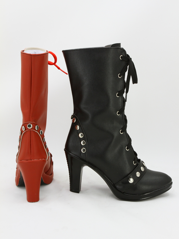 Red-Black Batman Arkham Knight Harley Quinn Cosplay Boots