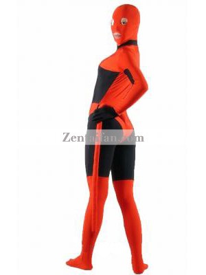 Red & Black Spandex Zentai Catsuit With Tail