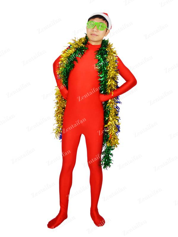 Red Unicolor Lycra Zentai Suit