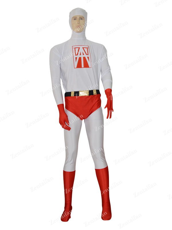 Red & White Custom Printing Logo Strong Zentai Suit