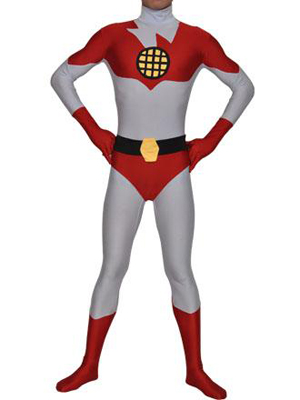 Red and White Captain Planet Spandex Superhero Costume