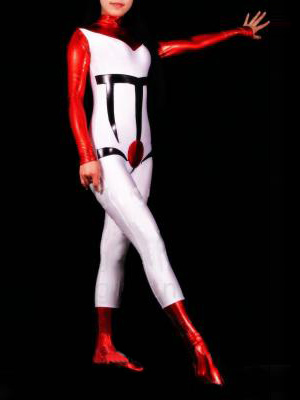 Red with White Shiny Metallic Unisex Zentai Catsuit