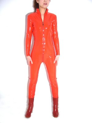 Sexy Fitted Red Front Open PVC Zentai Catsuit