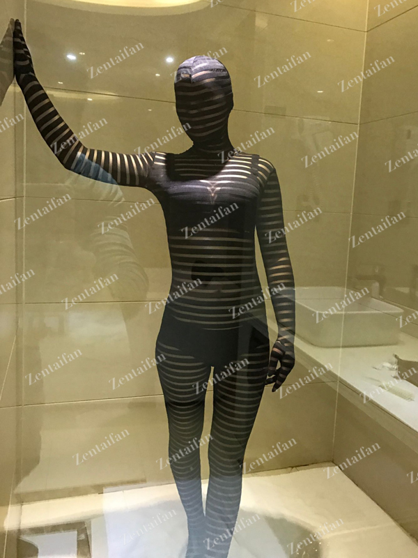 Sexy Fullbody Semi-Transparent Black Spandex Suit