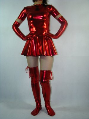 Sexy Short Sleeves Pleated Red Shiny Metallic Zentai Dress