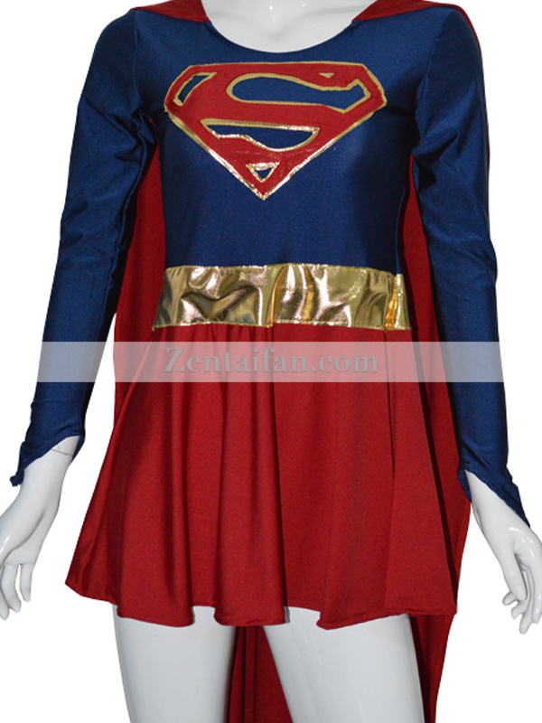 Sexy Supergirl Spandex Superhero Suit larger image
