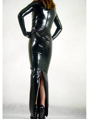 Sexy Zentai Shiny Black Back Open Zentai Dress