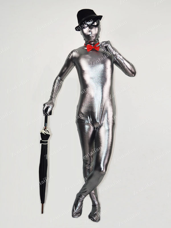 Shiny Grey Metallic Fullbody Zentai Suit