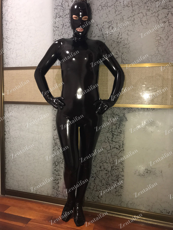 Shiny Open-eyes Fullbody Black Elastic PVC Suit