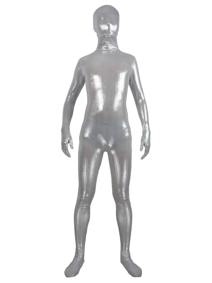 Shiny Silver Fullbody New Fabric Zentai Suit