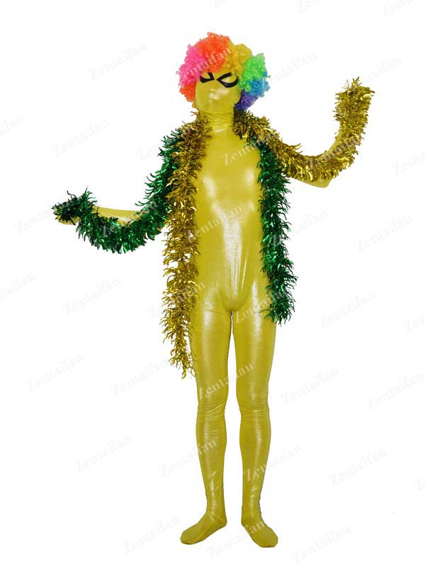 Shiny Yellow Metallic Fullbody Zentai Suit