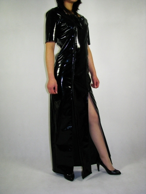 Short Sleeves Black PVC Front Open Long Dress Zentai